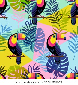 Vector illustration, seamless botanical silhouette pattern with Toucans on a modern colorful geometrical background