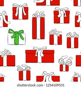 vector illustration of seamless christmas gifts pattern
