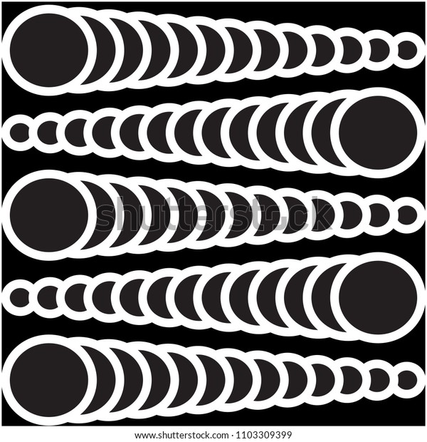 Vector illustration of seamless circles in pattern form on black background
