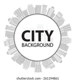 Vector illustration Seamless circular frame of line skyscrapers. Black and white