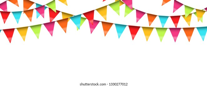 vector illustration of seamless colored garlands on white background for party or carnival usage