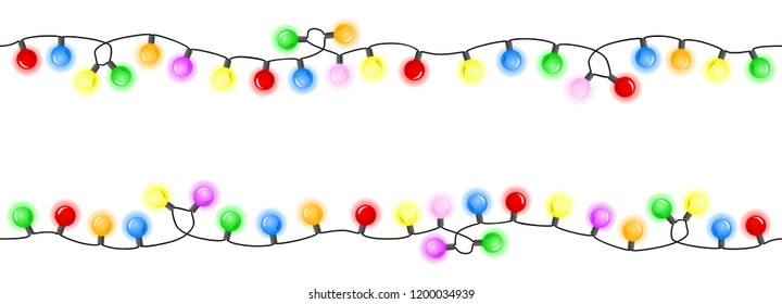 vector illustration of seamless colorful chains of lights