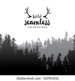 Vector illustration of  seamless coniferous forest border
