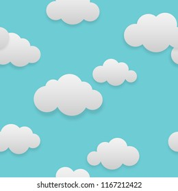 Vector illustration of seamless could on clear sky, creative repeating line of texture for printing, wrapping, wallpaper, fabric, and textile.