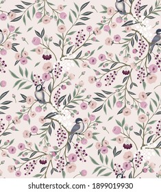 Vector illustration of seamless floral pattern with little birds in spring for Wedding, anniversary, birthday and party. Design for invitation card, picture frame, poster, scrapbook