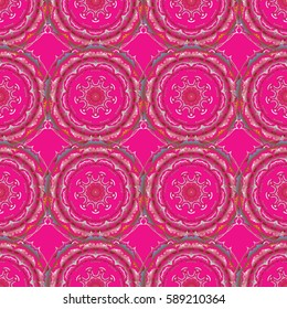 Vector illustration. Vector seamless floral pattern in yellow and red colors for design, textile or fabric.