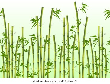 Vector illustration of seamless green Bamboo background
