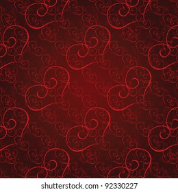 Vector illustration seamless heart pattern. Love background