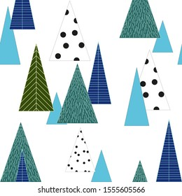 Vector illustration of seamless isolated pinetree forest. Winter cold season, christmas and new year wrapping paper pattern