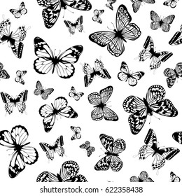 Vector illustration seamless monochrome background with abstract butterfly for print on textile or paper