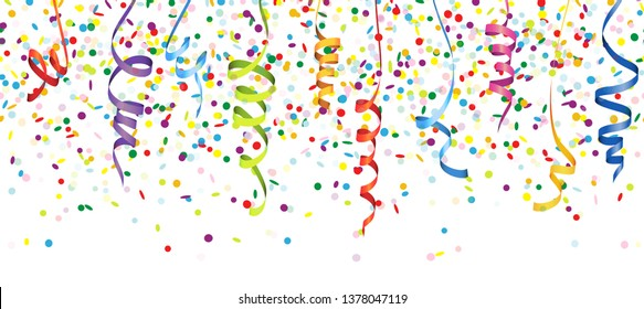 vector illustration of seamless multi colored confetti and streamers for carneval or party time on white background