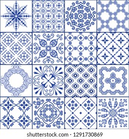 Vector illustration. Seamless patchwork pattern from tiles in the oriental style in blue tones.  It can be used for decoration of floor and wall tiles or wallpaper.  Background design.