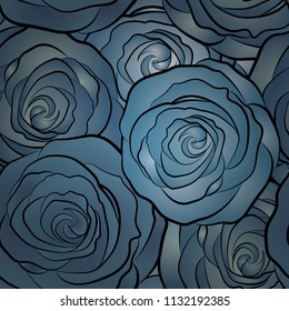 Vector illustration. Seamless pattern with abstract blue and green stylized roses.