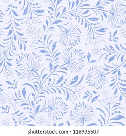 Vector illustration of seamless pattern with abstract flowers.Floral background