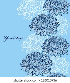 Vector illustration of seamless pattern with abstract hand drawn chrysanthemums