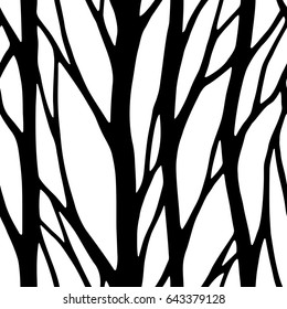 vector illustration, seamless pattern, abstract trees