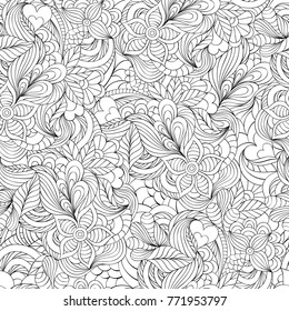 Vector illustration of seamless pattern with abstract flowers,leaves and hearts.Coloring page for adult.