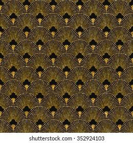 Vector illustration of seamless pattern in art deco style. Golden glittering texture