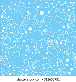 "The vector illustration, ""seamless pattern baby boy background"" for design"