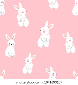 Vector illustration seamless pattern background design of cute rabbit on pink pastel.Doodle cartoon style.