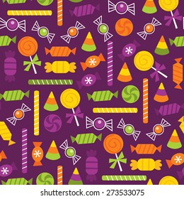 A vector illustration seamless pattern background of halloween trick or treat candies.