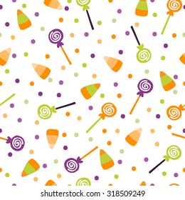 A vector illustration seamless pattern background of halloween trick or treat candies. Bright candies and sweets in the traditional colors of Halloween