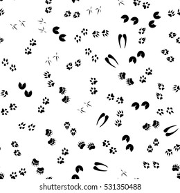 Vector illustration seamless pattern, background with footsteps, footprint black silhouettes of following animals dog, bobcat, coyote, fox, heron, bear, horse, wolf and deer. Wild animals