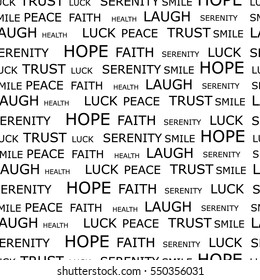 Vector illustration seamless pattern, background with words hope, luck, peace, smile, trust, serenity and laugh