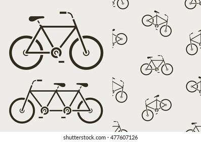 Vector illustration and seamless pattern of bicycles tandem on warm grey background