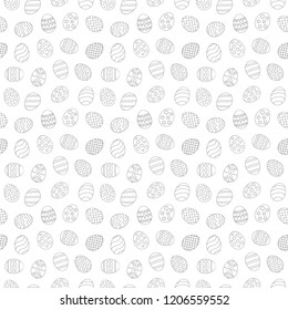 Vector illustration: seamless pattern with black linear egg icons with ornaments for Easter holidays design, wallpaper, greeting card, scrapbooking and wrapping paper isolated on white background.