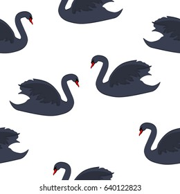 Vector illustration seamless pattern with black bird swan isolated on white background.