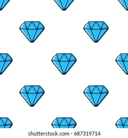 Vector illustration. Seamless pattern with blue diamonds with contour on white background