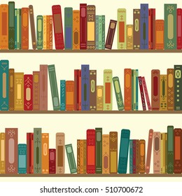 vector illustration of seamless pattern of bookshelves with retro style books for vintage bookstore background or wallpaper