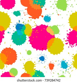 Vector illustration, seamless pattern with bright ink blots.