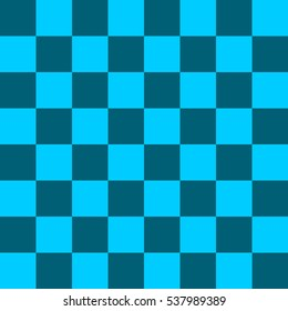 Vector illustration of seamless pattern in chessboard design. Light blue and dark blue cells.