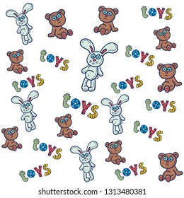 Vector illustration. Seamless pattern of children toys. Good for card, poster, banner, invitation, postcard, icon.  EPS 10