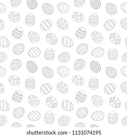 Vector illustration: seamless pattern of contour egg icons with ornament in different postitons for Easter holidays design isolated on white background in linear style. Holiday fabrics and wallpapers