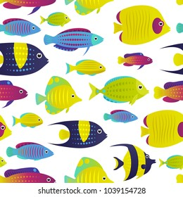 Vector illustration, seamless pattern with  coral reef fish. Cartoon decorative fish illustration.