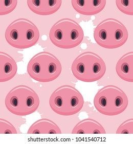 Vector illustration, seamless pattern with cute pigs noses.