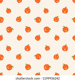 Vector illustration: seamless pattern: cute orange carved pumpking icons on creamy background. Decorative element for Halloween party greeting cards, wallpapers, fabrics, wrapping paper, scrapbooking