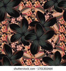 Vector illustration. Seamless pattern with cute plumeria flowers in black, gray and green colors.