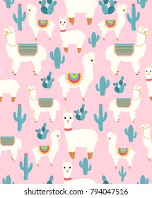 Vector Illustration of seamless pattern with cute cartoon llama alpaca with cactus and design elements on pink background in flat cartoon style.