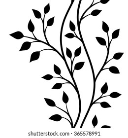 vector illustration, seamless pattern, decorative black and white tree branches with leaves