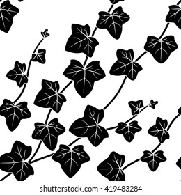 vector illustration, seamless pattern, decorative black and white ivy branches with leaves