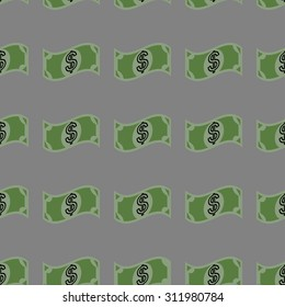 Vector illustration of seamless pattern with dollar on gray background.