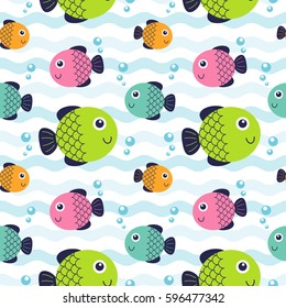 Vector illustration seamless pattern with fish