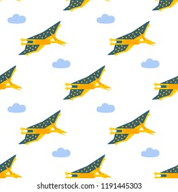 Vector illustration. Seamless pattern with flat style icon of Pteranodon. Background with pterosaur for different design.