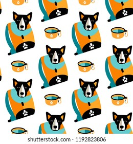 Vector Illustration. Seamless pattern with flat style icon of backpack for dog and portable cup. Background with accessories for walking, control, traning or travel with pet.