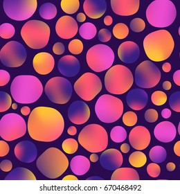 vector illustration. seamless pattern. fluid colors round shapes, gradient, mesh, pink, purple, yellow.