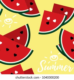 Vector illustration of seamless pattern with fresh ripe watermelon and heart seeds with Summer text  Watermelon vector illustration. Summer concept. Watermelon fruit in flat design.